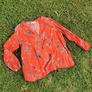 Red Linen Blend Flowered Tunic Top